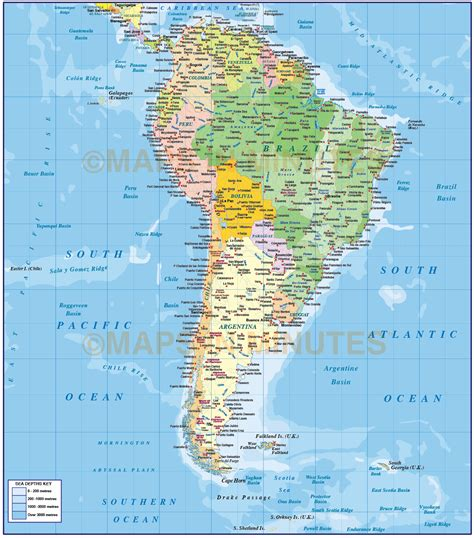 america map oceans digital vector south america political map with sea