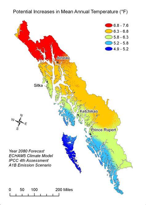 us temperature map alaska climate change in southeast alaska