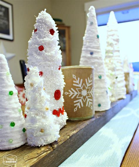 easy thrifty diy mini christmas trees with yarn and