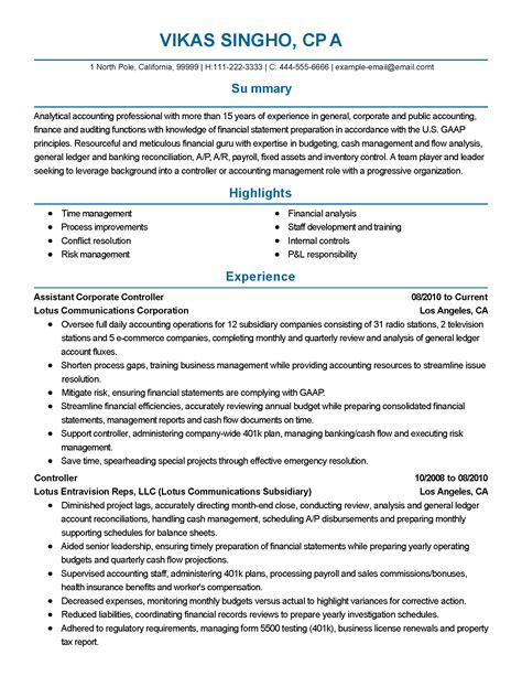 Resume Accounting Manager Controller Professional Assistant Corporate Controller Templates To Showcase Your Talent Myperfectresume