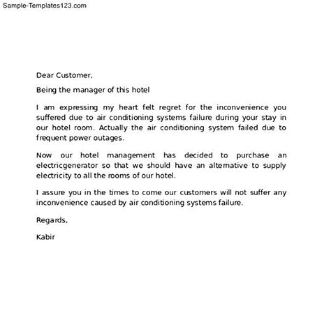 letter hotel customer apology sample templates