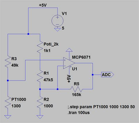 wheatstone bridge ltspice br 252 ckenschaltung pt1000 mikrocontroller net