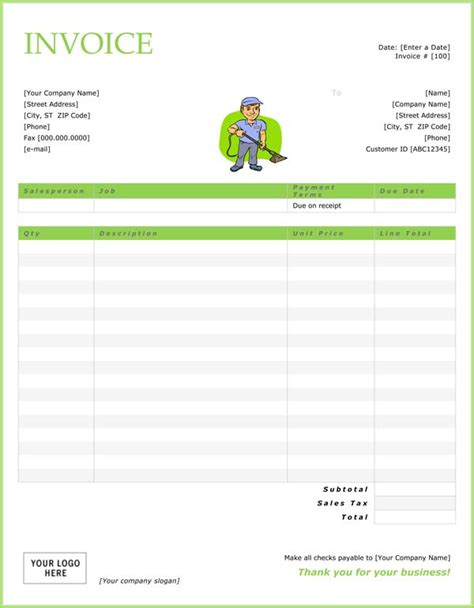 Top 21 Free Cleaning Service Invoice Templates Demplates Cleaning Invoice Template Uk