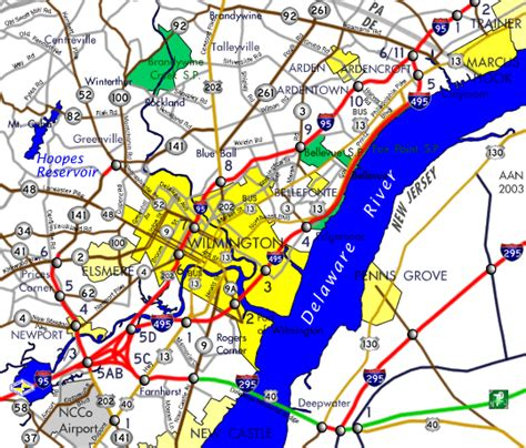 printable road map of delaware interstate guide interstate 495 delaware
