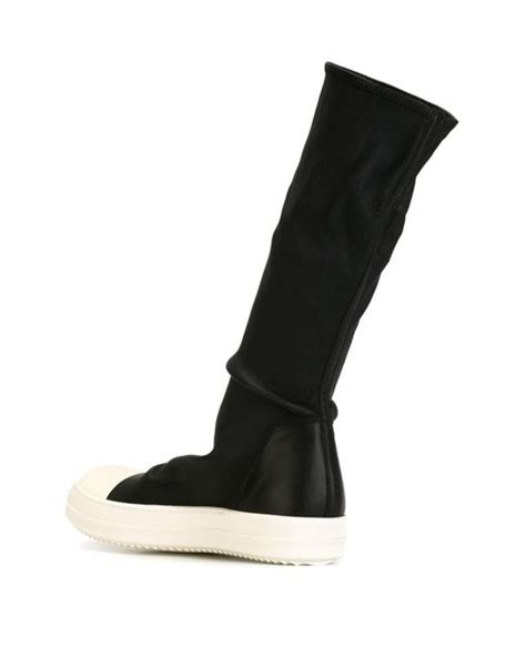 sock top boots rick owens sock high top leather boots in black lyst