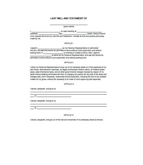 39 Last Will And Testament Forms Templates ᐅ Template Lab Last Will Testament Free Template