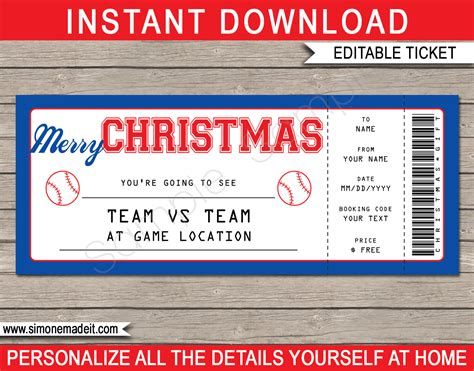 christmas baseball ticket gift voucher printable baseball ticket template