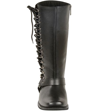knee high motorcycle boots milwaukee side lace womens leather knee high harness