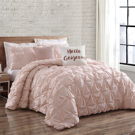 light pink comforter twin xl brooklyn loom jackson pleat king comforter set in blush