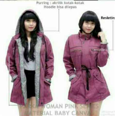 Jaket Parka Merah Bata Limited jual jaket hoodie parka wanita premium kanvas taslan 18