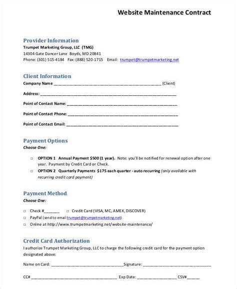 website maintenance agreement template 50 basic contract templates