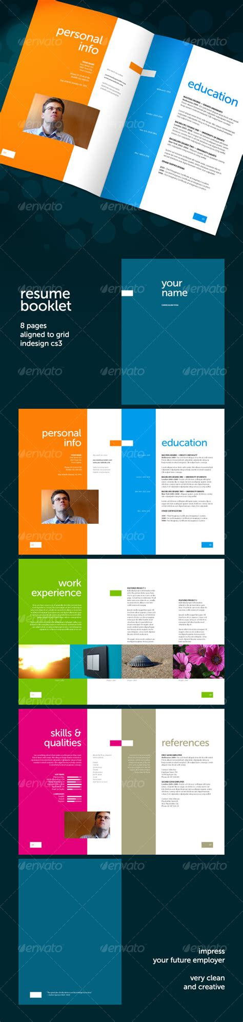 resume booklet 8 pages graphicriver