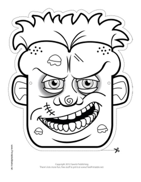 zombie mask coloring page printable male zombie mask to color mask