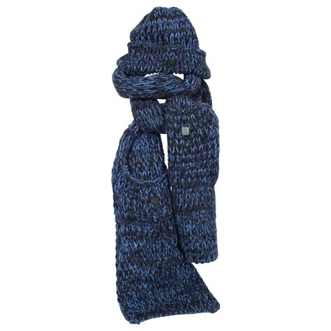 chanel knit hat and scarf black blue for sale