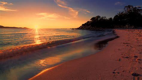 sea long exposure sunset nature beach wallpapers hd