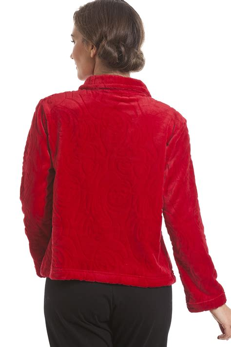 fleece bed jacket luxury supersoft red button up fleece bed jacket