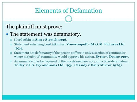 defamation section defamation libel and slander ppt video online download