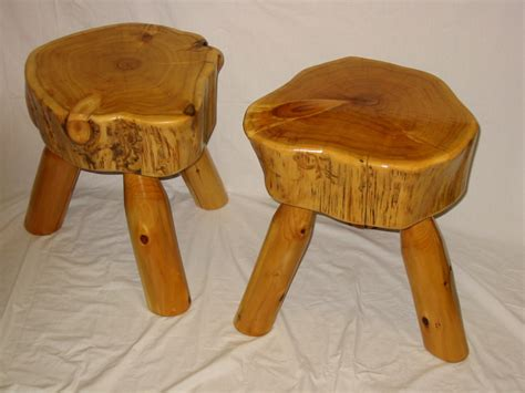 rustic log benches stools