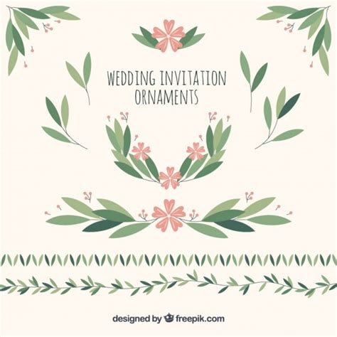 Wedding Ornaments by Wedding Ornaments Of Leaves And Flowers Vector Free
