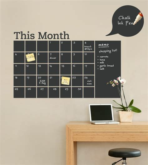 chalk wall stickers chalkboard wall decal monthly calendar by simpleshapes on etsy