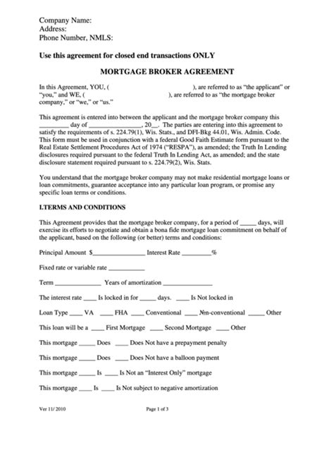 Top 6 Mortgage Agreement Form Templates Free To Download In Pdf Format Loan Broker Agreement Template