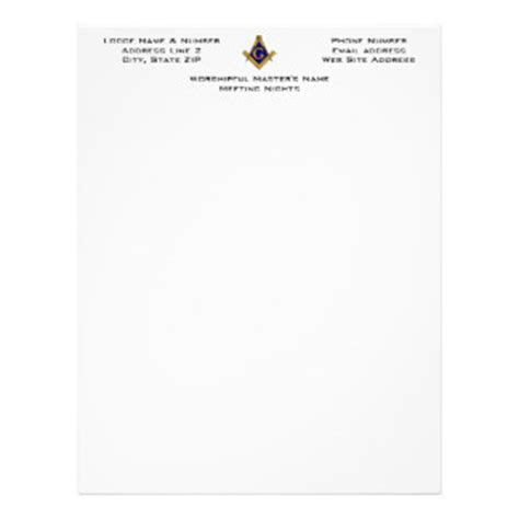 Masonic Letterhead Custom Masonic Letterhead Templates Masonic Lodge Website Templates