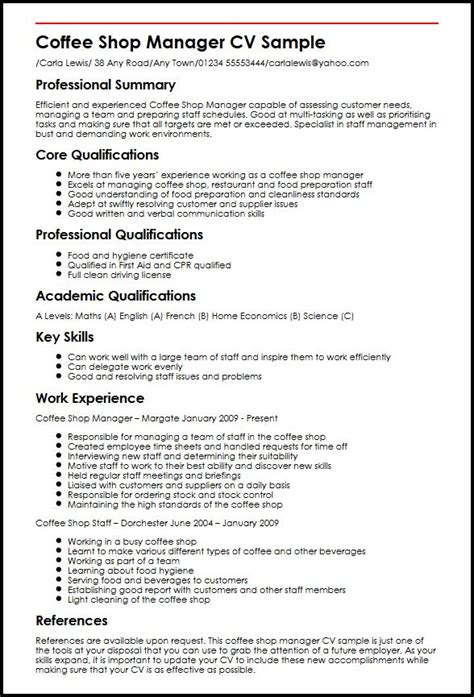 Sample Professional Summary Resume by Coffee Shop Manager Cv Sample Myperfectcv