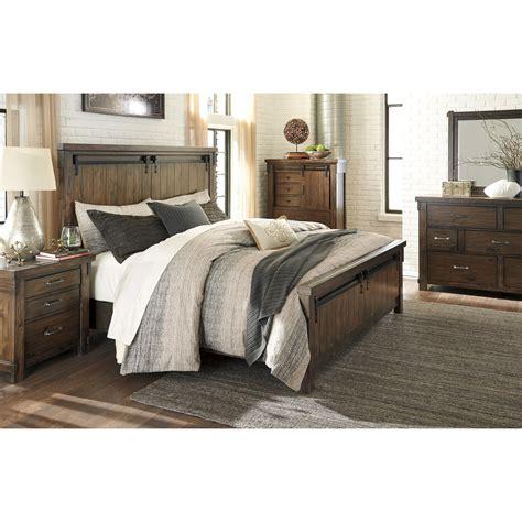 lakeleigh queen panel bed  barn door style hardware van hill furniture panel beds