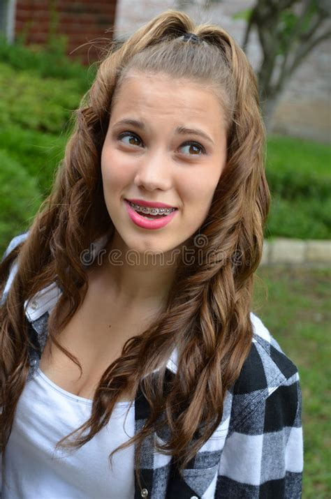 school girls braces pigtails teenage girl stock image image of youth teen happy
