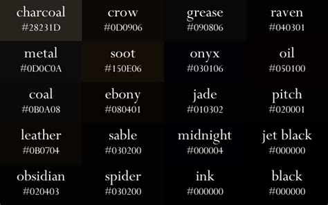 black color names pin by inspiration board on color palette album