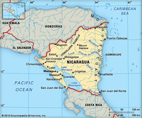 nicaragua on a map nicaragua encyclopedia children s homework help