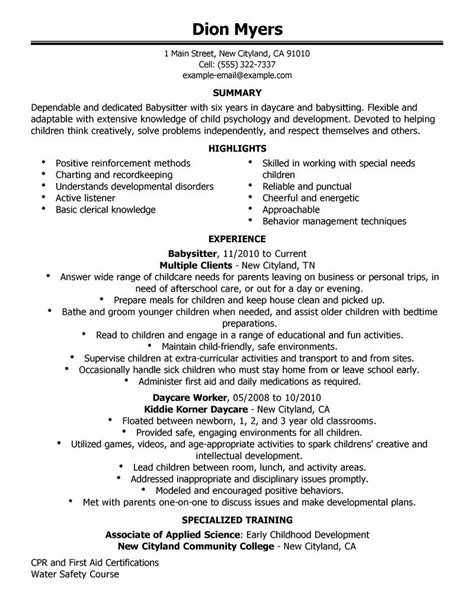 Resume For Babysitting Sample babysitter resume example