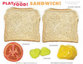 printable sandwich recipes play food sandwiches play food plays and worksheets