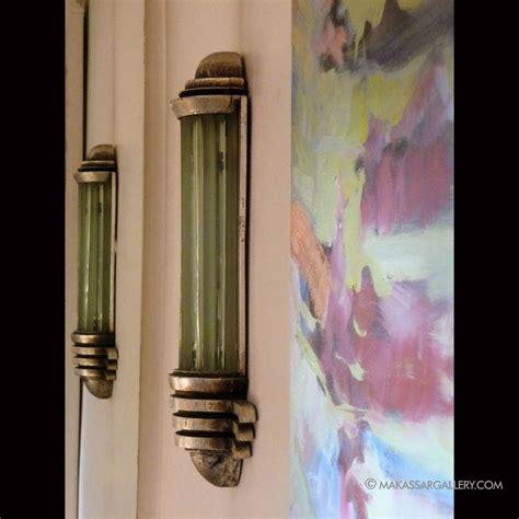 art deco wall decor three glass and silvered wood wall lights s 233 raphin van den