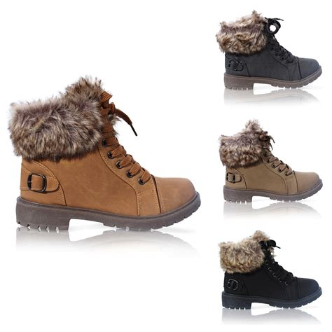 womens fur boots womens faux fur grip sole winter warm ankle boots