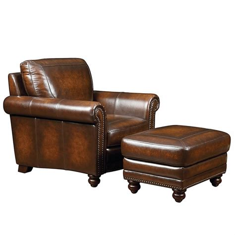 Bassett Leather Chair And Ottoman Hamilton Leather Chair By Bassett Furniture Bassett Chairs Recliners Ottomans