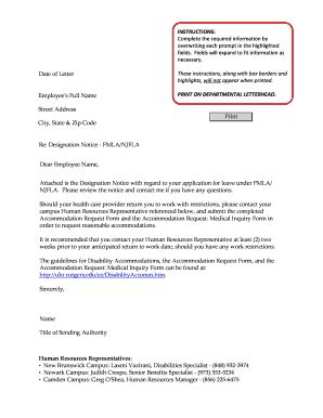 Fmla Notice Letter