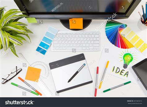 graphic design works at home graphic designer work color swatch sles stock photo