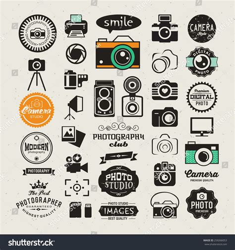 Photography Vintage Retro Icons Badges Labels Stock Vector 259266053 Shutterstock Photography Label Templates
