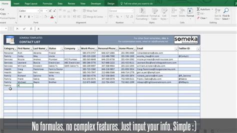 contacts spreadsheet template contact list template in excel free to easy