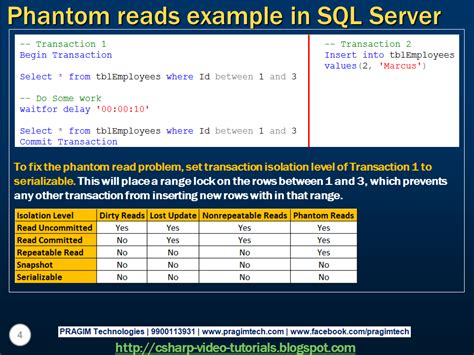 tutorial video sql sql server net and c video tutorial phantom reads