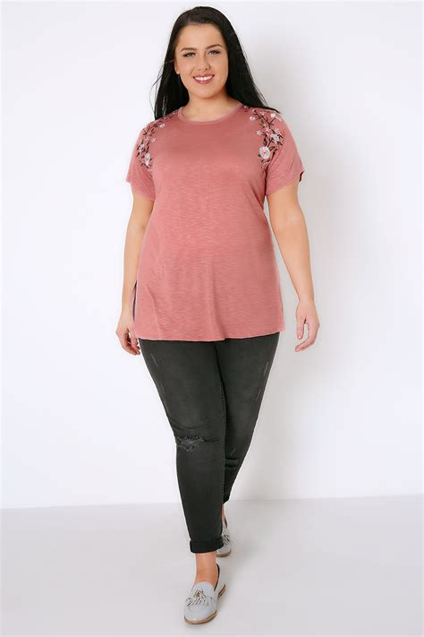 Top Dusty Pink dusty pink jersey top with floral embroidered shoulders