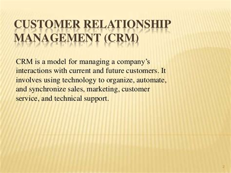 Crm Notes For Mba Students by Customer Relationship Management Crm