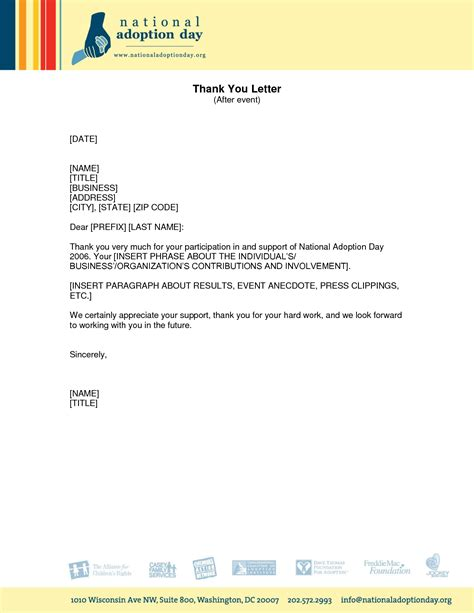 Confirmation Letter Participation Event formal thank you letter for an event event feedbackphoto