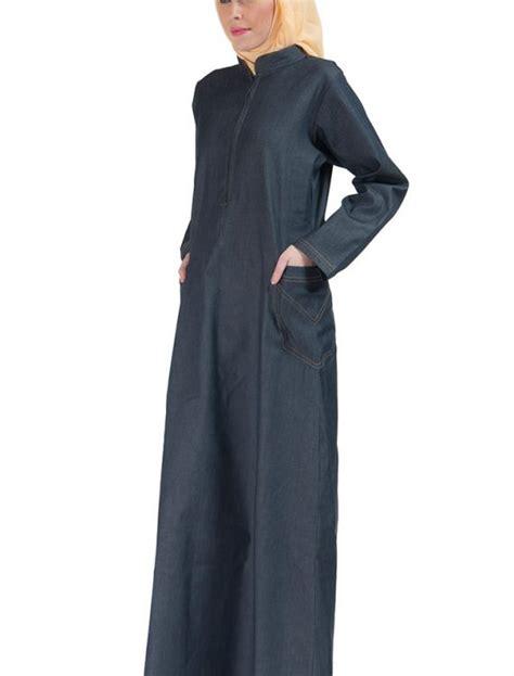 Jilbab Hoodie Zipper zipper front stretch denim abaya blue shop at discount