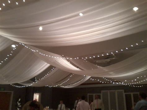tulle wedding ceiling   Fabric, lights, colored tulle or