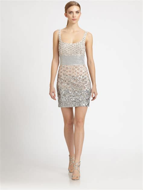 beaded silver dress badgley mischka beaded dress in metallic lyst