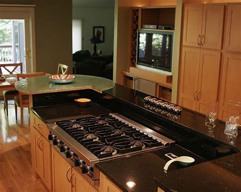 kitchen stove and granite countertop