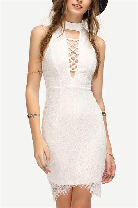 white sleeveless lace crochet crisscross sexy dress