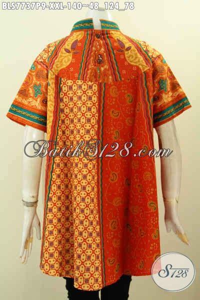 Dress Batik Bls 124 pakaian batik istimewa untuk wanita gemuk blus batik big
